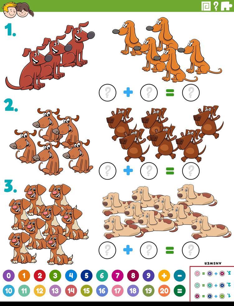 Suma de matemáticas tarea educativa con perros. vector