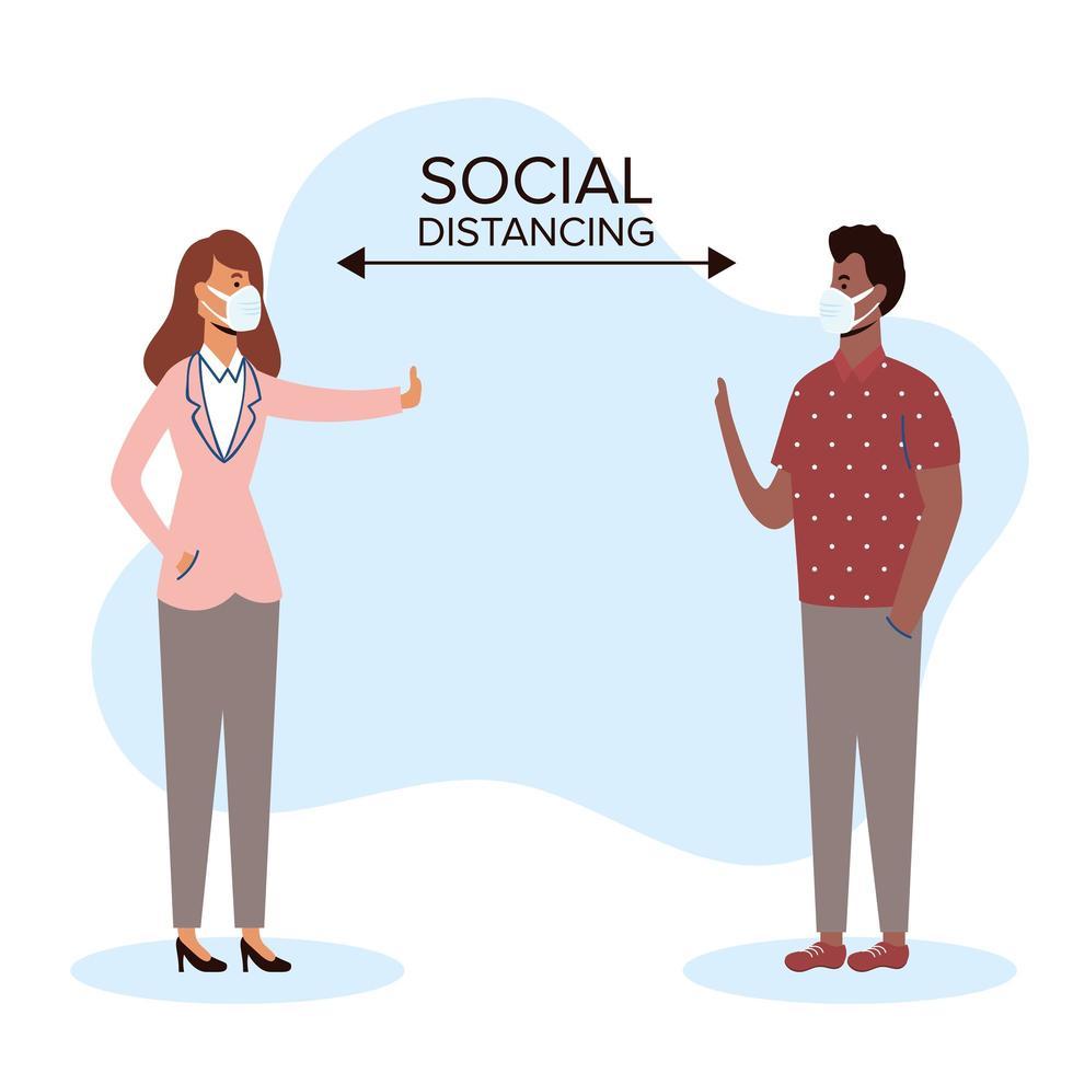 personas diversas distanciamiento social con mascarillas vector