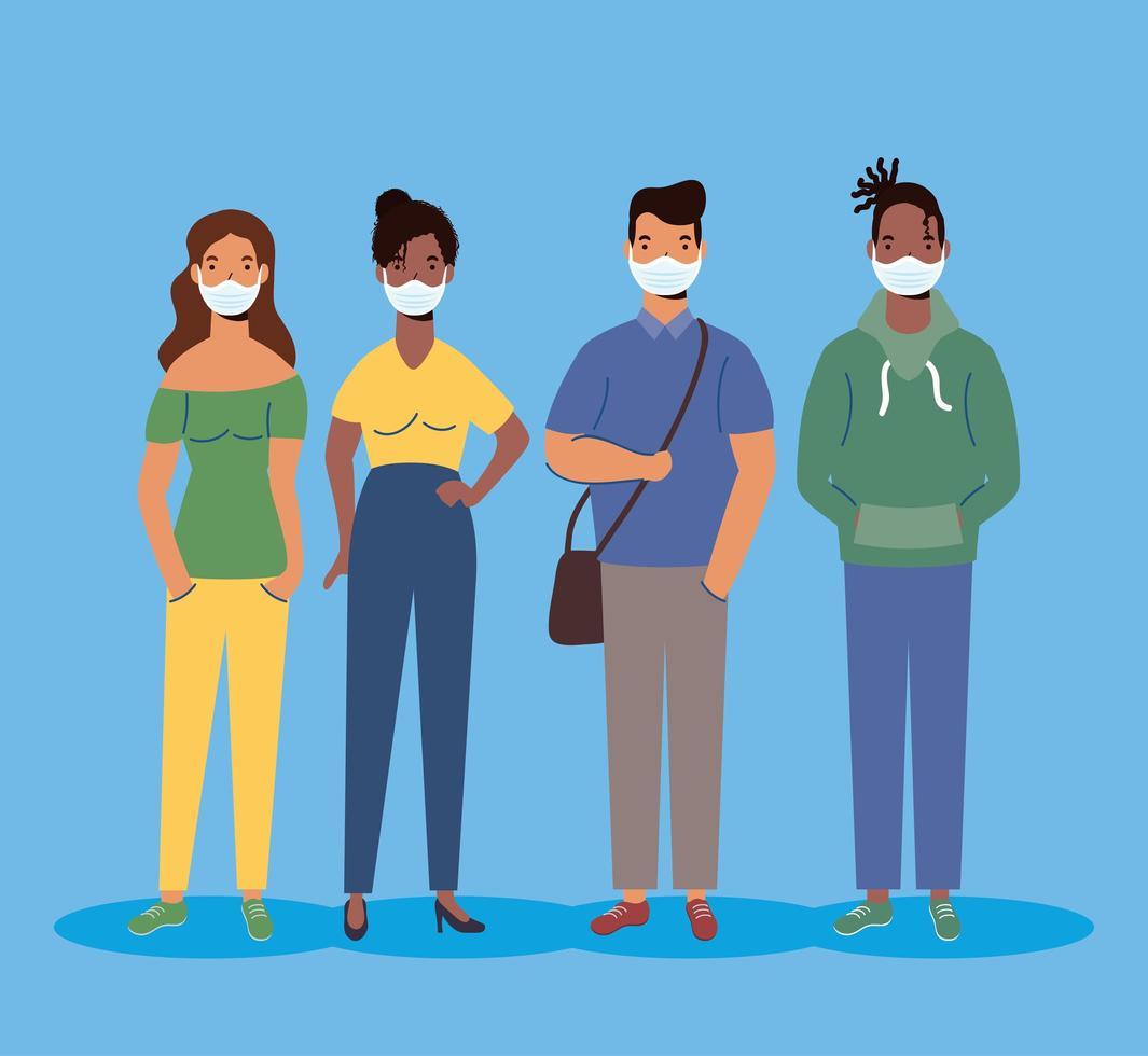 diversidad de personajes de personas con máscaras faciales vector