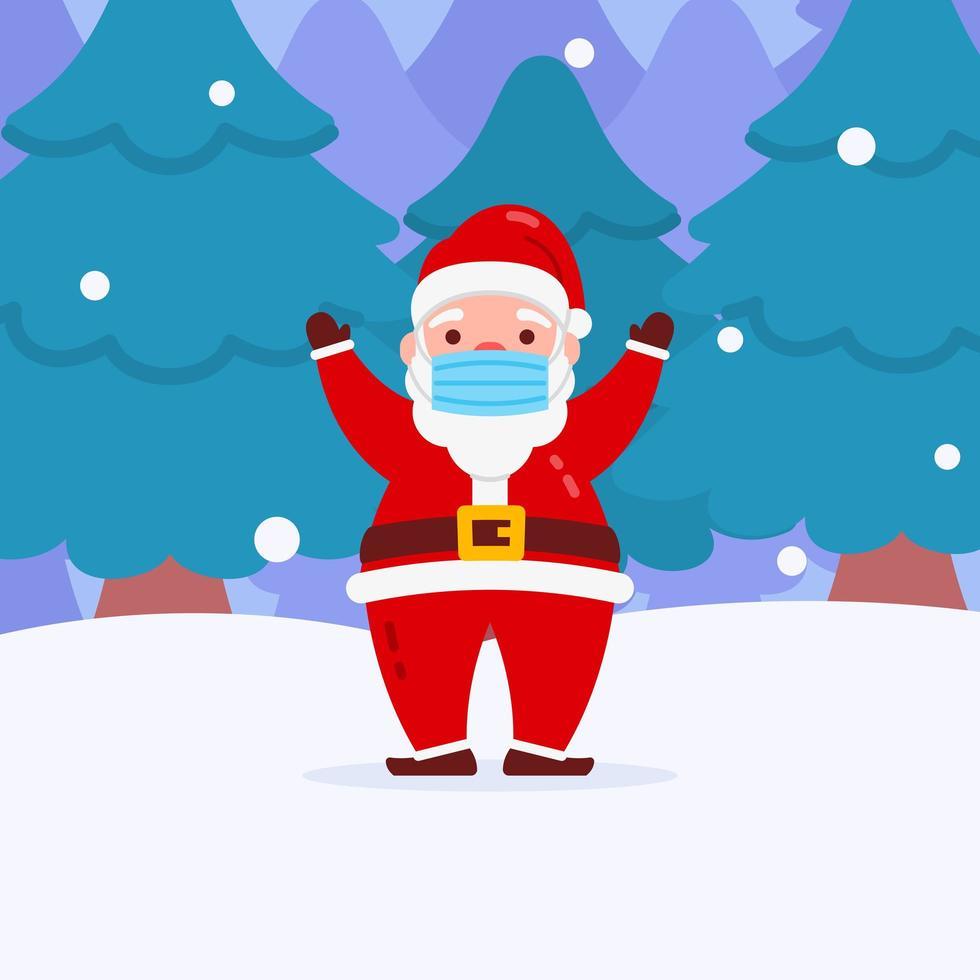navidad santa personaje con mascarilla vector