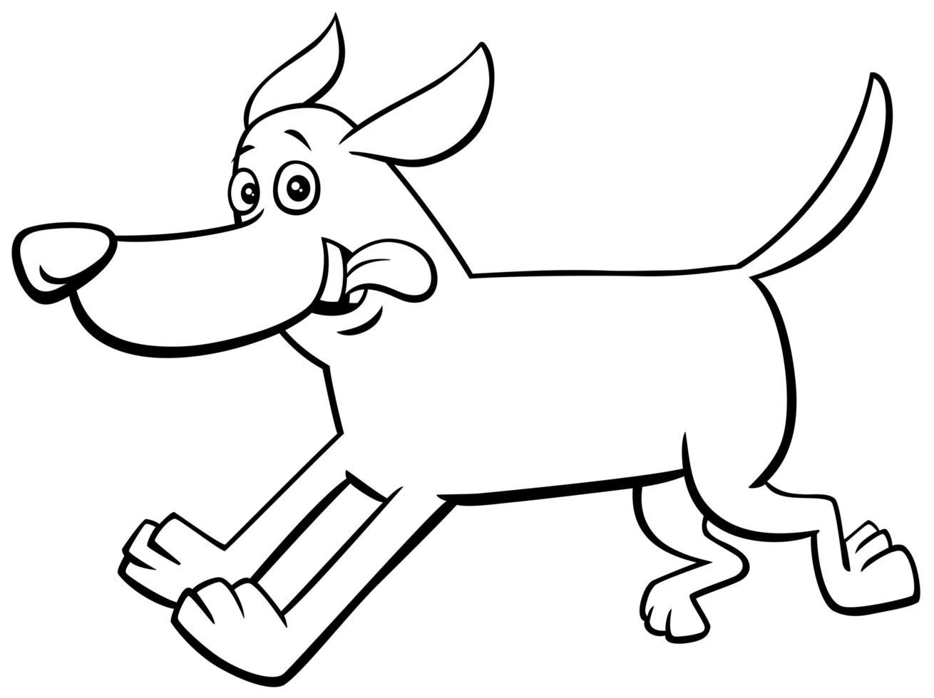 Feliz perro corriendo personaje libro para colorear página vector