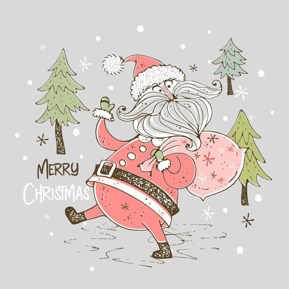 tarjeta de navidad con santa claus vector