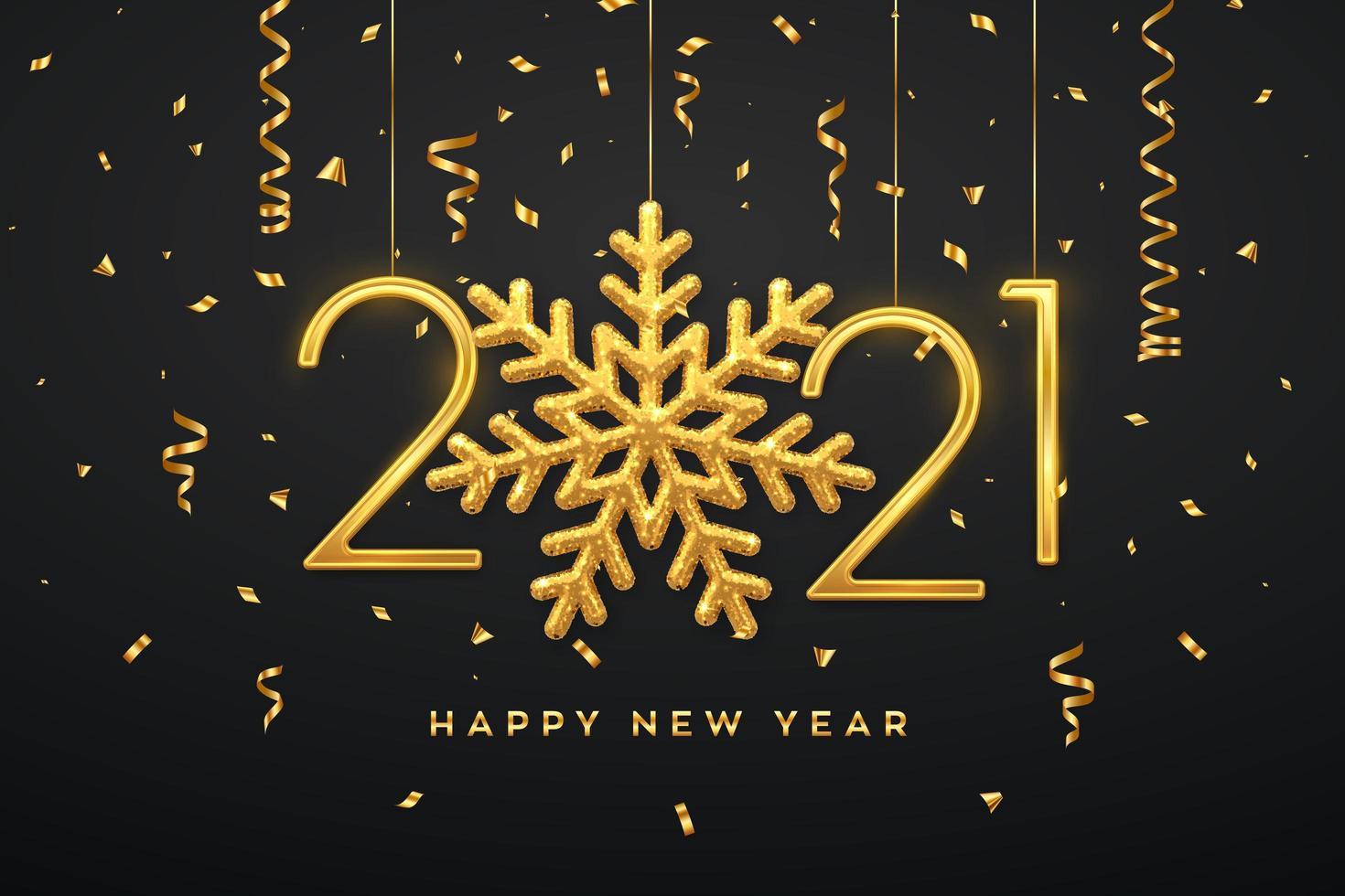 Happy New Year hanging metallic numbers 2021 vector