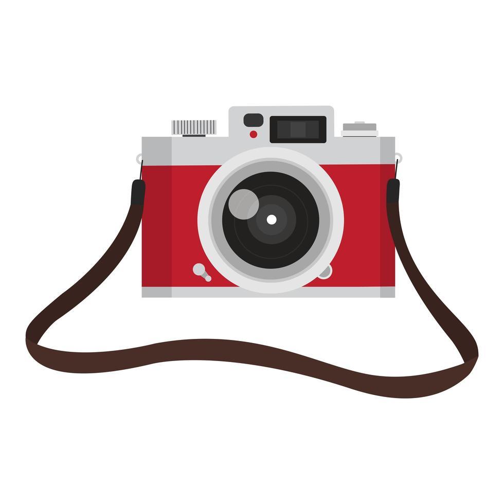 cámara vintage roja con correa para cámara vector