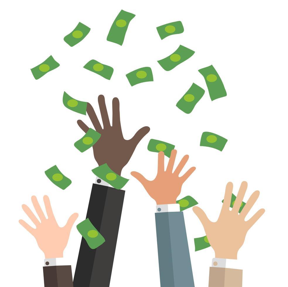 manos de negocios atrapan dinero cayendo vector