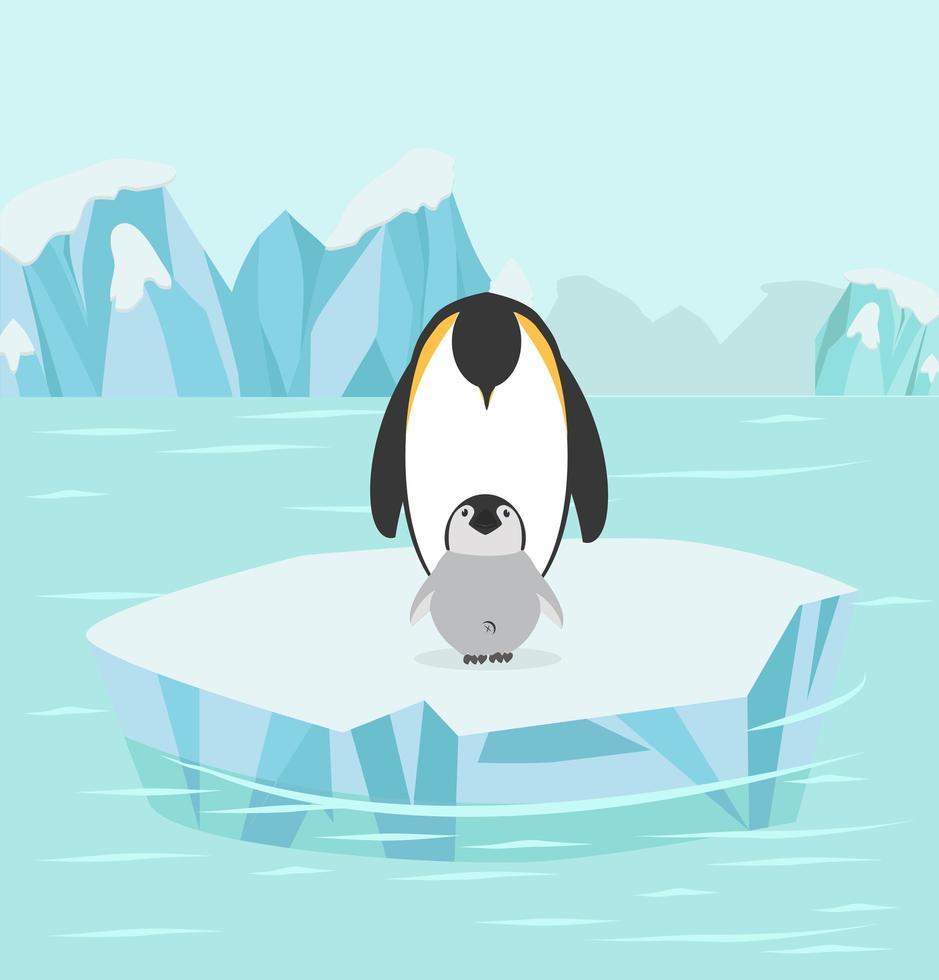 pingüino y bebé en el polo norte vector