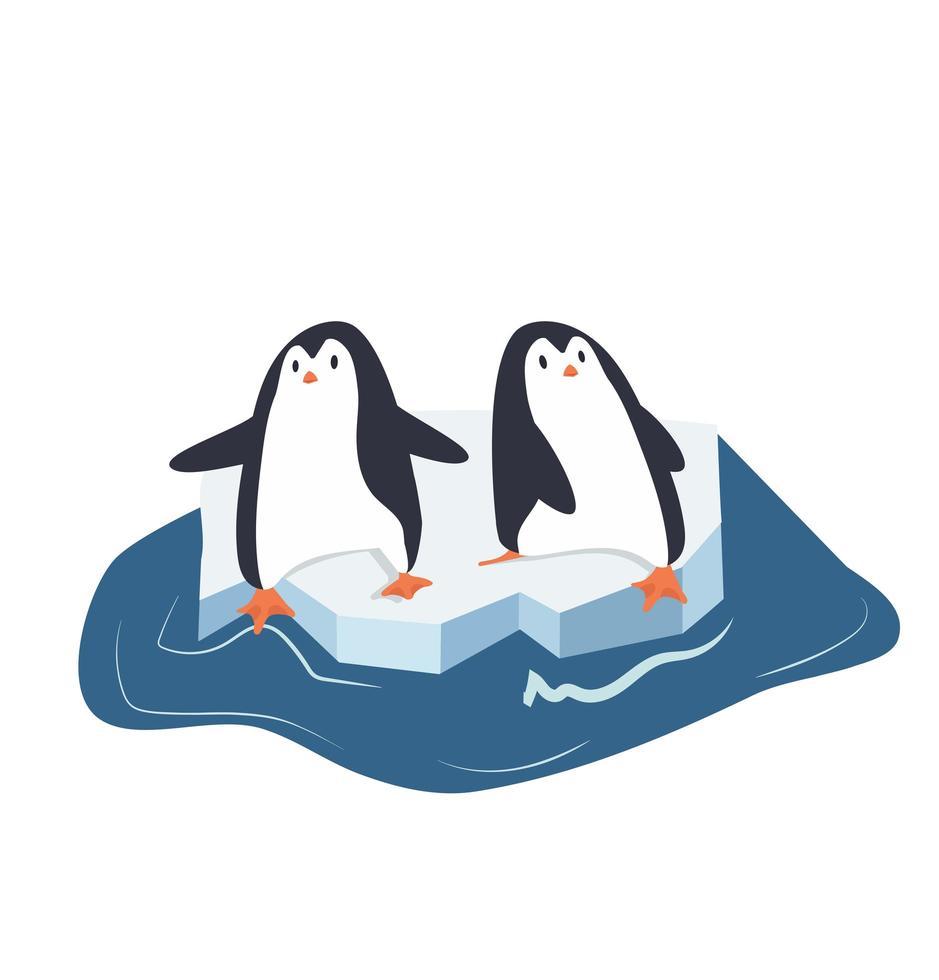 pingüinos en un trozo de iceberg vector