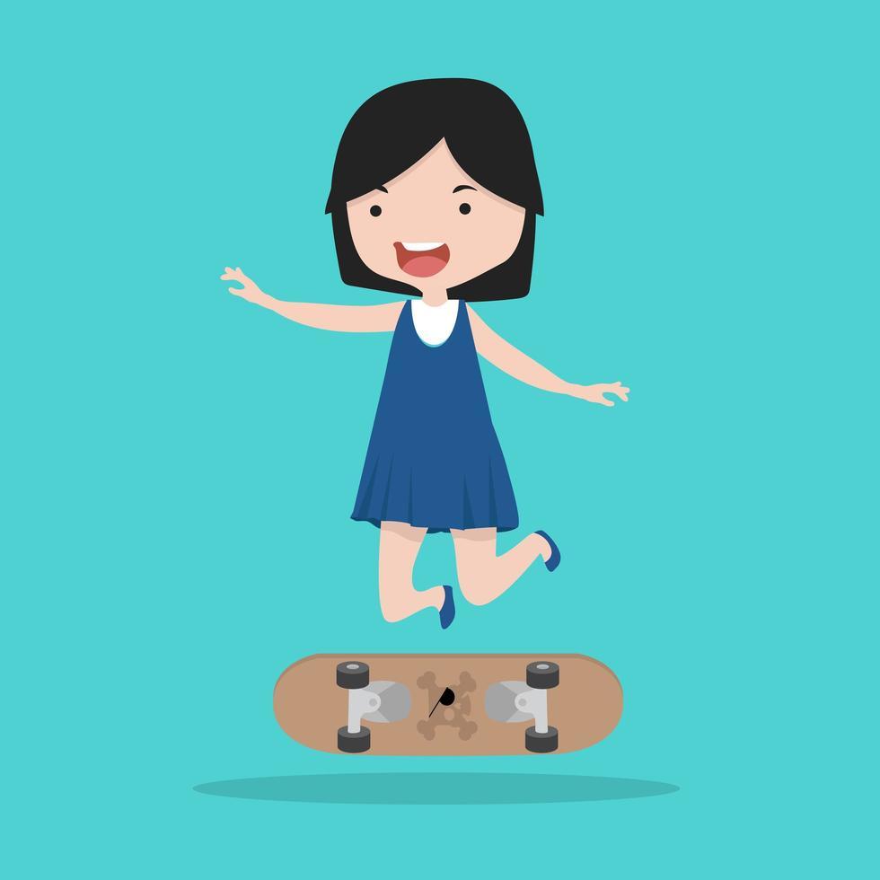 Small girl with skateboard vector