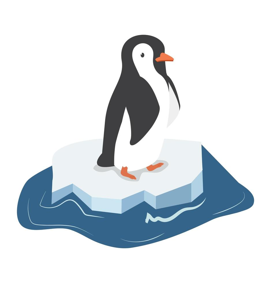 lindo pingüino en un trozo de iceberg vector