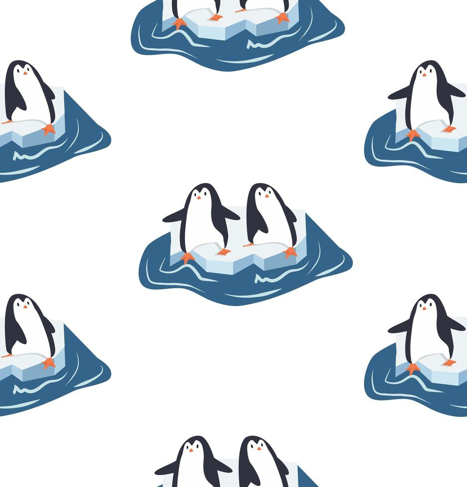 pingüinos en un trozo de patrón de iceberg vector