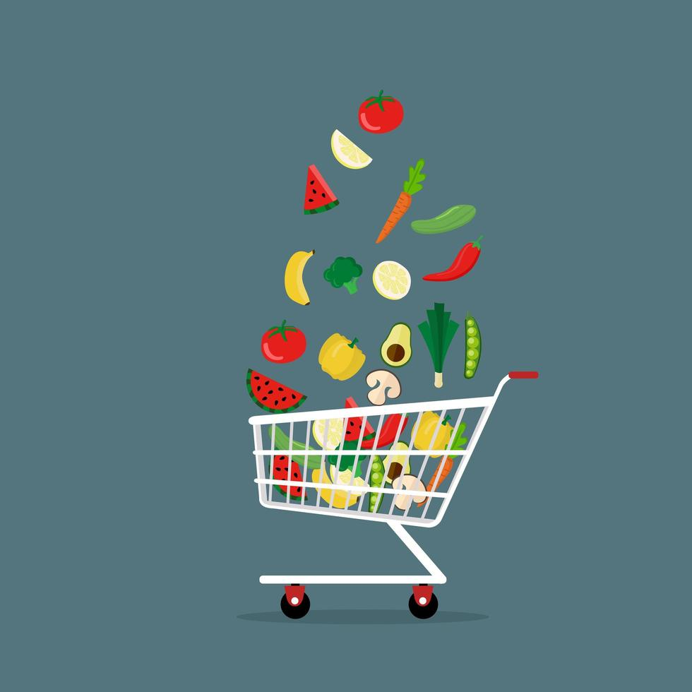 verduras en carrito de compras estilo plano vector