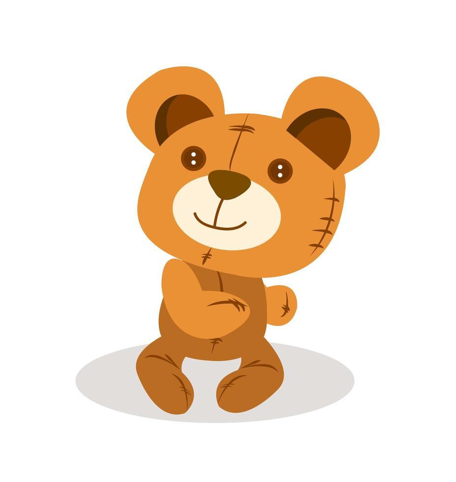 lindo muñeco de oso de peluche vector