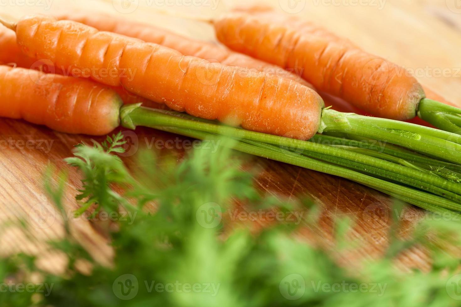 fresh carrots bunch on wood photo