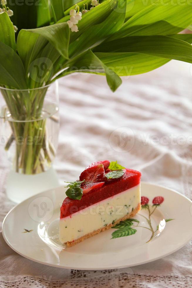 Slice of cake with strawberry photo