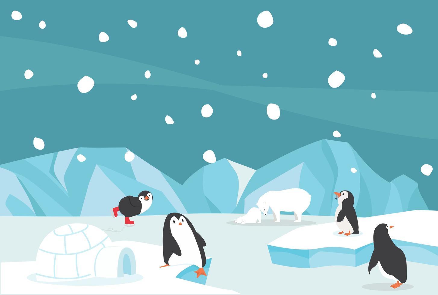 pingüinos y osos jugando en el paisaje ártico vector
