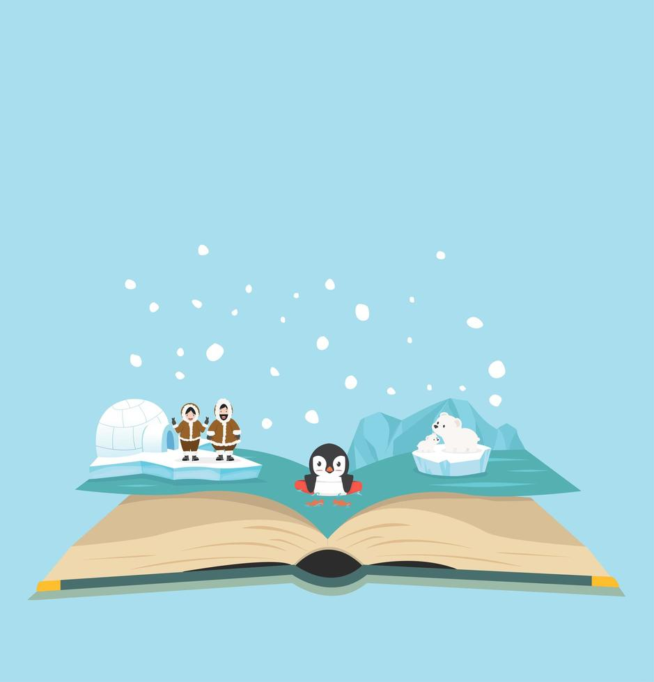 Escena ártica con pingüinos y gente saliendo del libro. vector