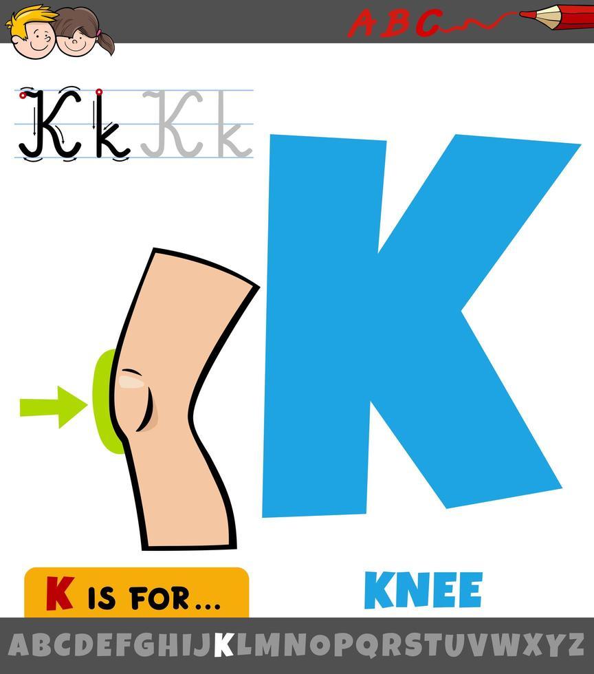 Letter K With Cartoon Knee Body Part Download Free Vectors Clipart Graphics Vector Art