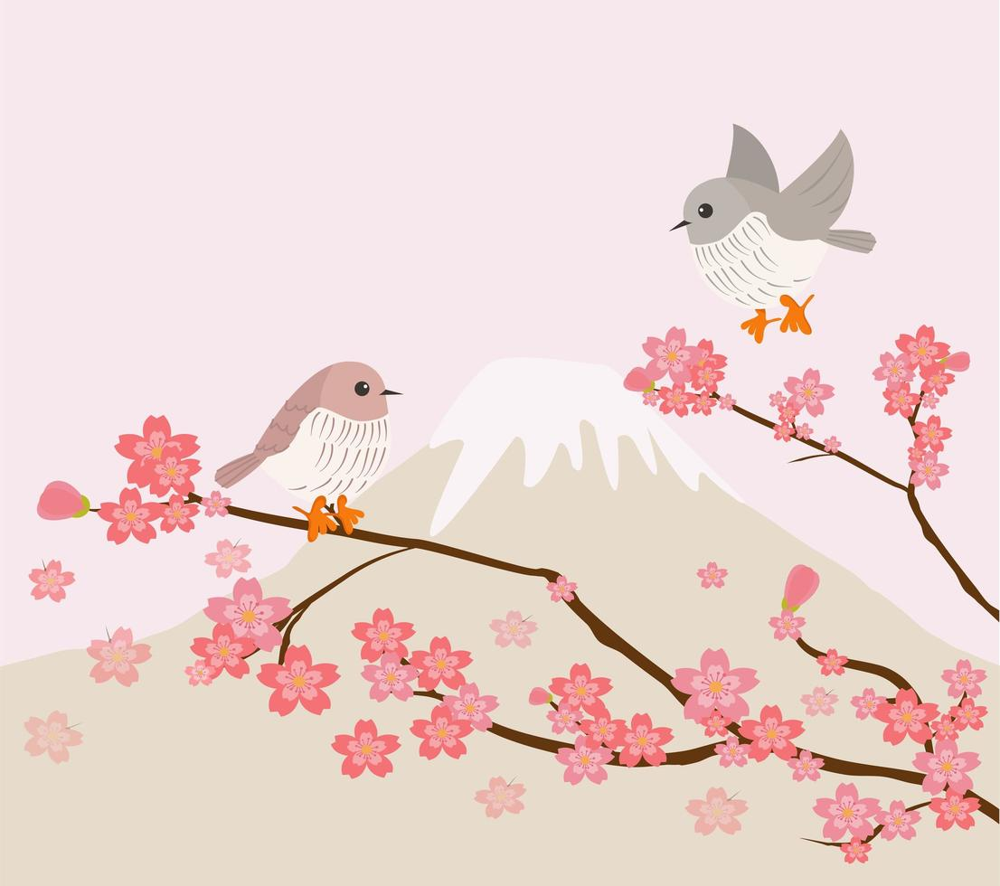 Lovely birds with cherry tree and mountain background vector