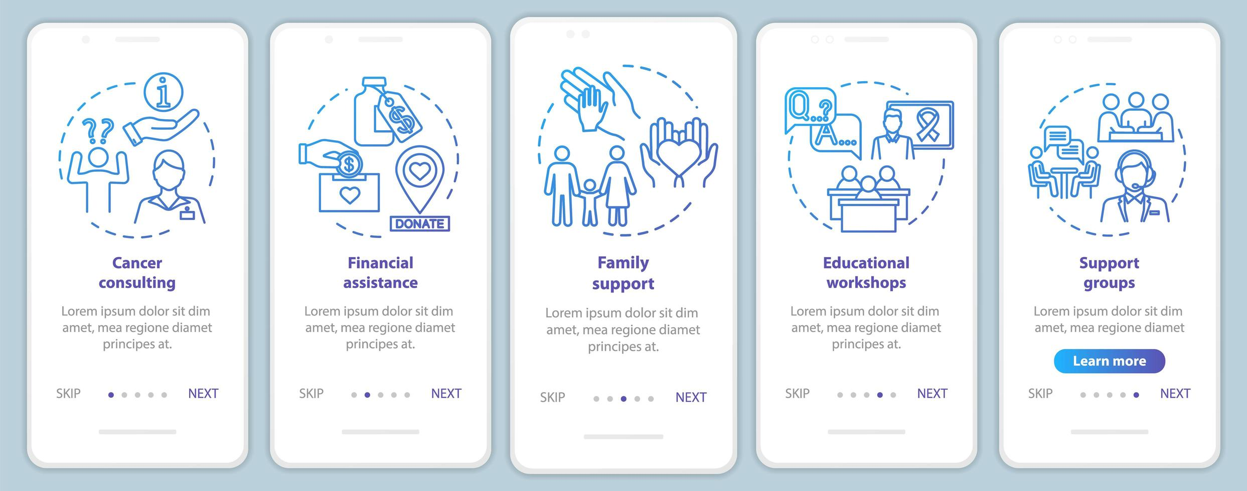 Ayuda de oncología para incorporar la pantalla de la página de la aplicación móvil vector