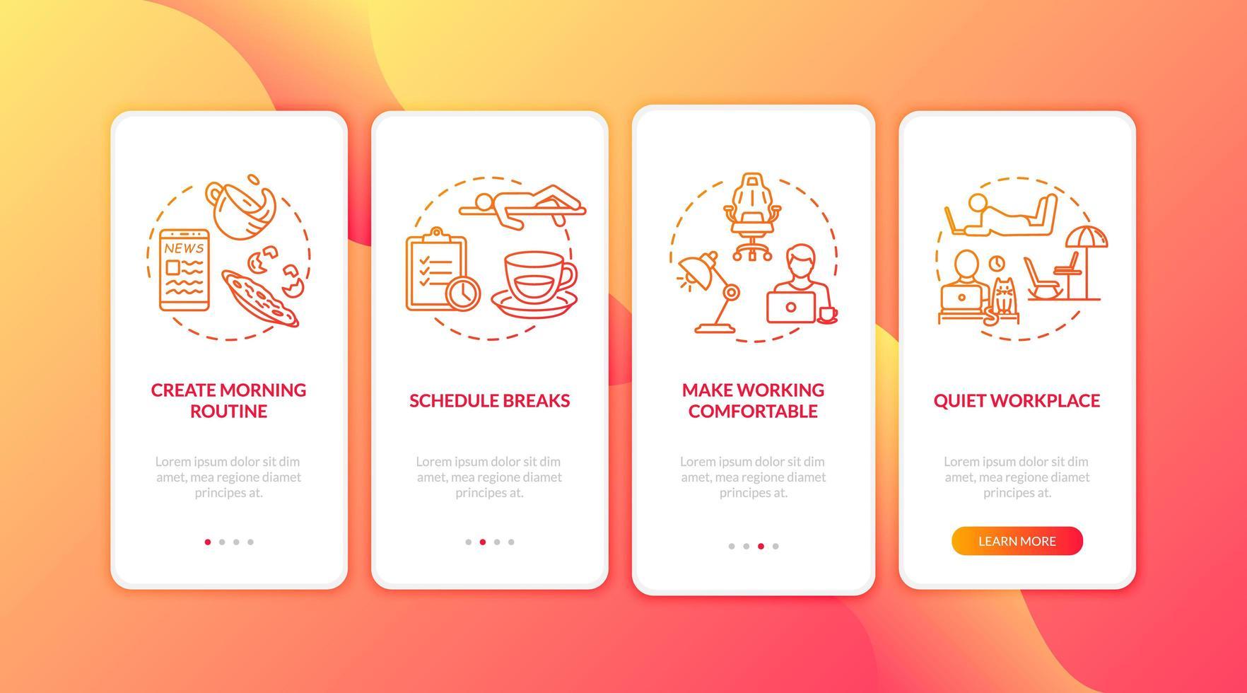 oficina en casa, pantalla de la página de la aplicación móvil de incorporación independiente vector