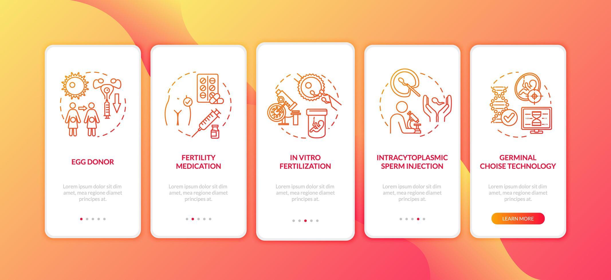 pantalla de la página de la aplicación móvil de incorporación de fertilización vector