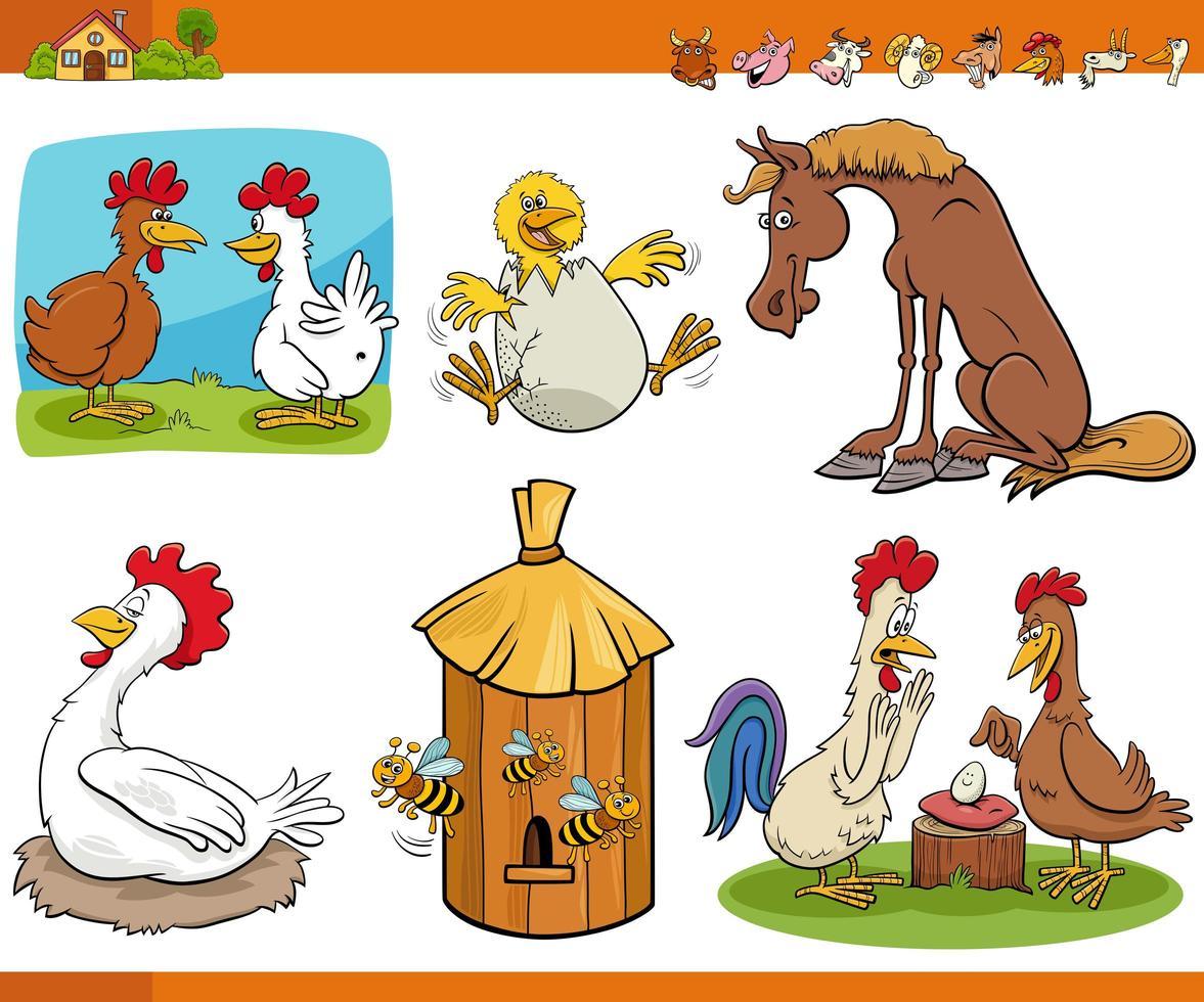 dibujos animados divertidos animales de granja conjunto de personajes de cómic vector