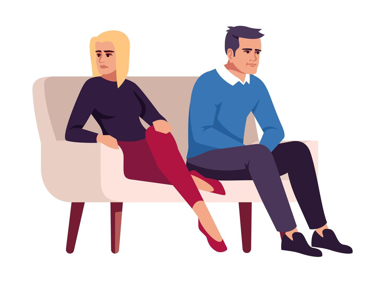 Couple on couch. People on sofa. Marital conflict. vector