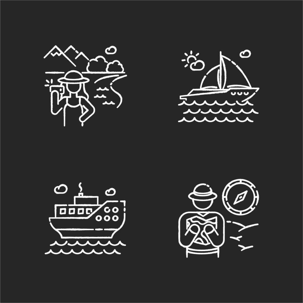 Actividades populares de vacaciones conjunto de iconos de tiza blanca vector
