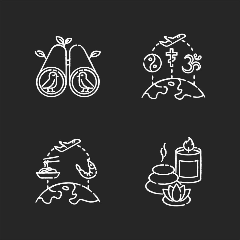 viajes y recreación conjunto de iconos de tiza blanca vector