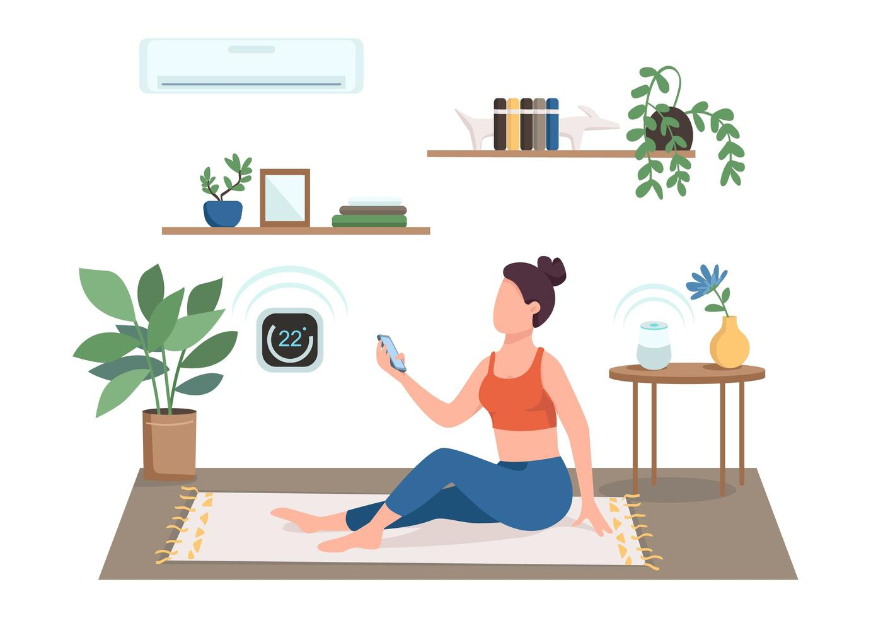 mujer controlando aire acondicionado vector
