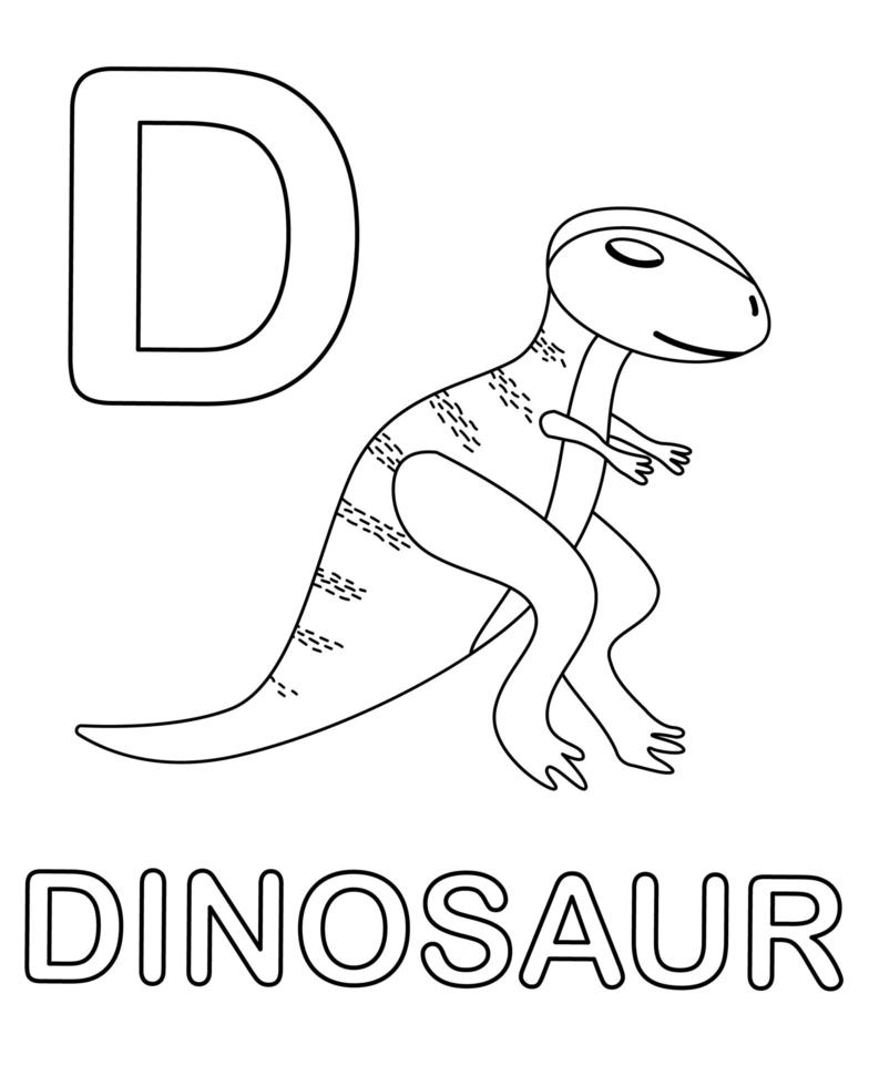 Alphabet coloring page with wild dinosaur vector