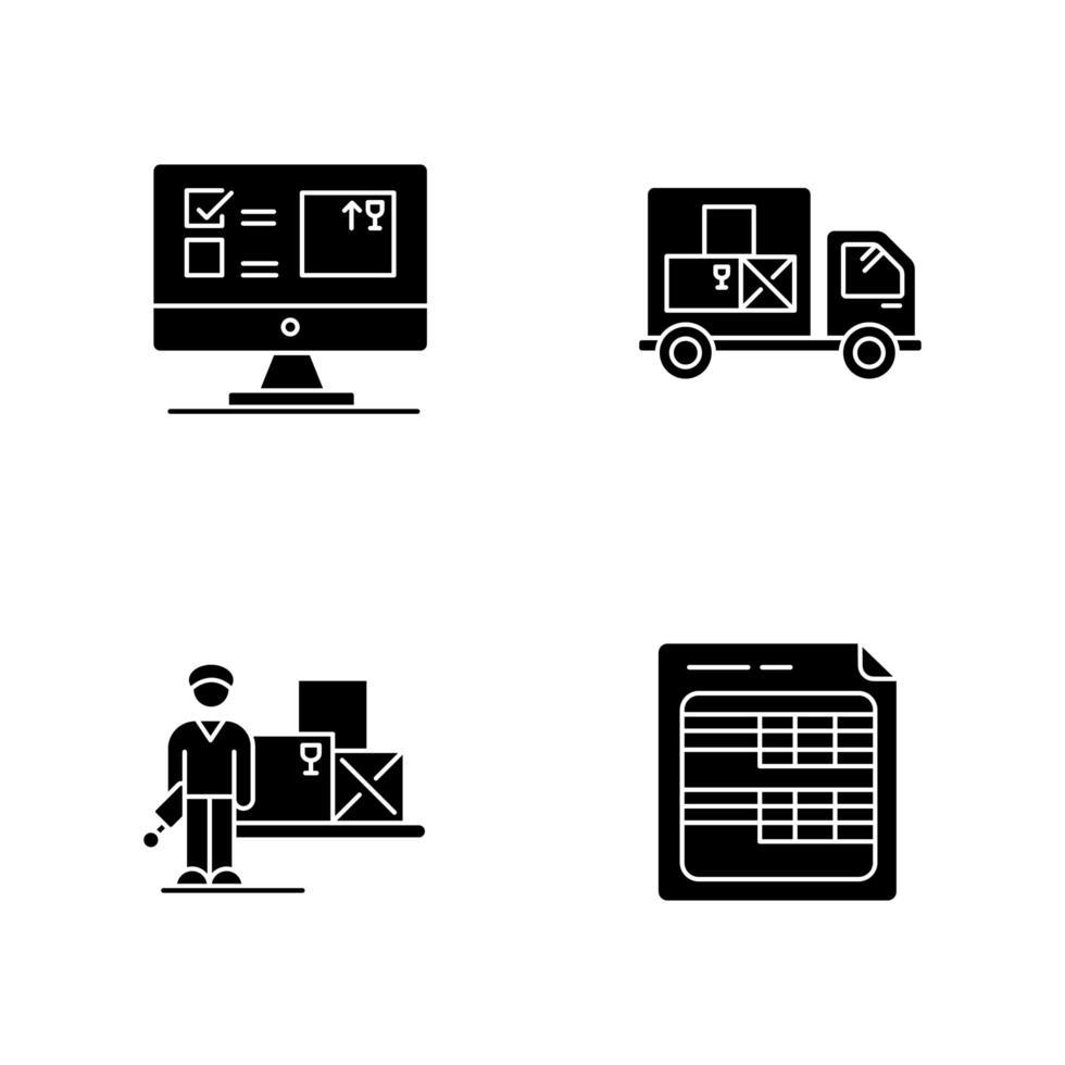conjunto de iconos de sistema de seguimiento de inventario y almacenamiento vector