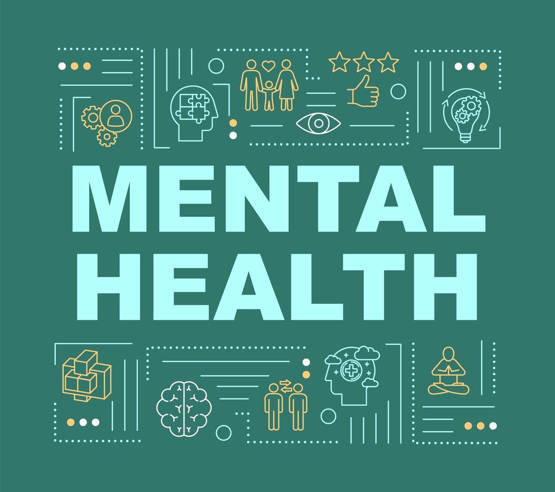 banner de conceptos de palabra de salud mental. mente sana feliz. vector