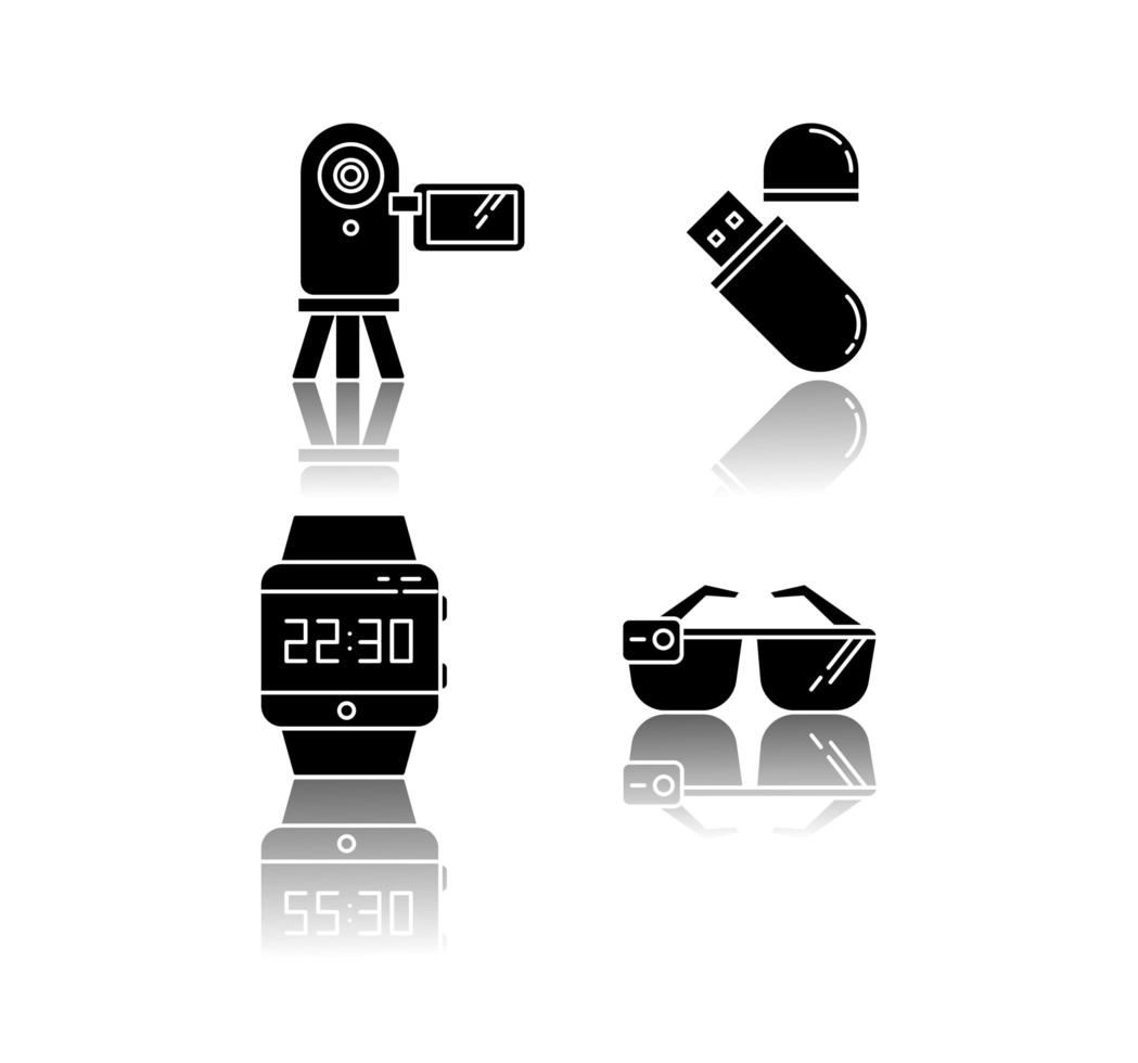 Mobile devices drop shadow black glyph icons set. vector