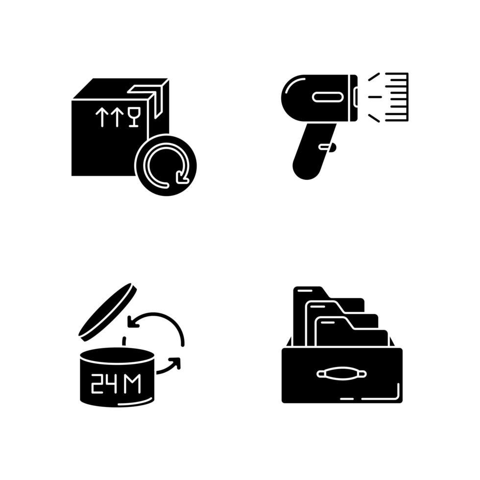 Control y contabilidad de calidad de mercancías conjunto de iconos negros vector