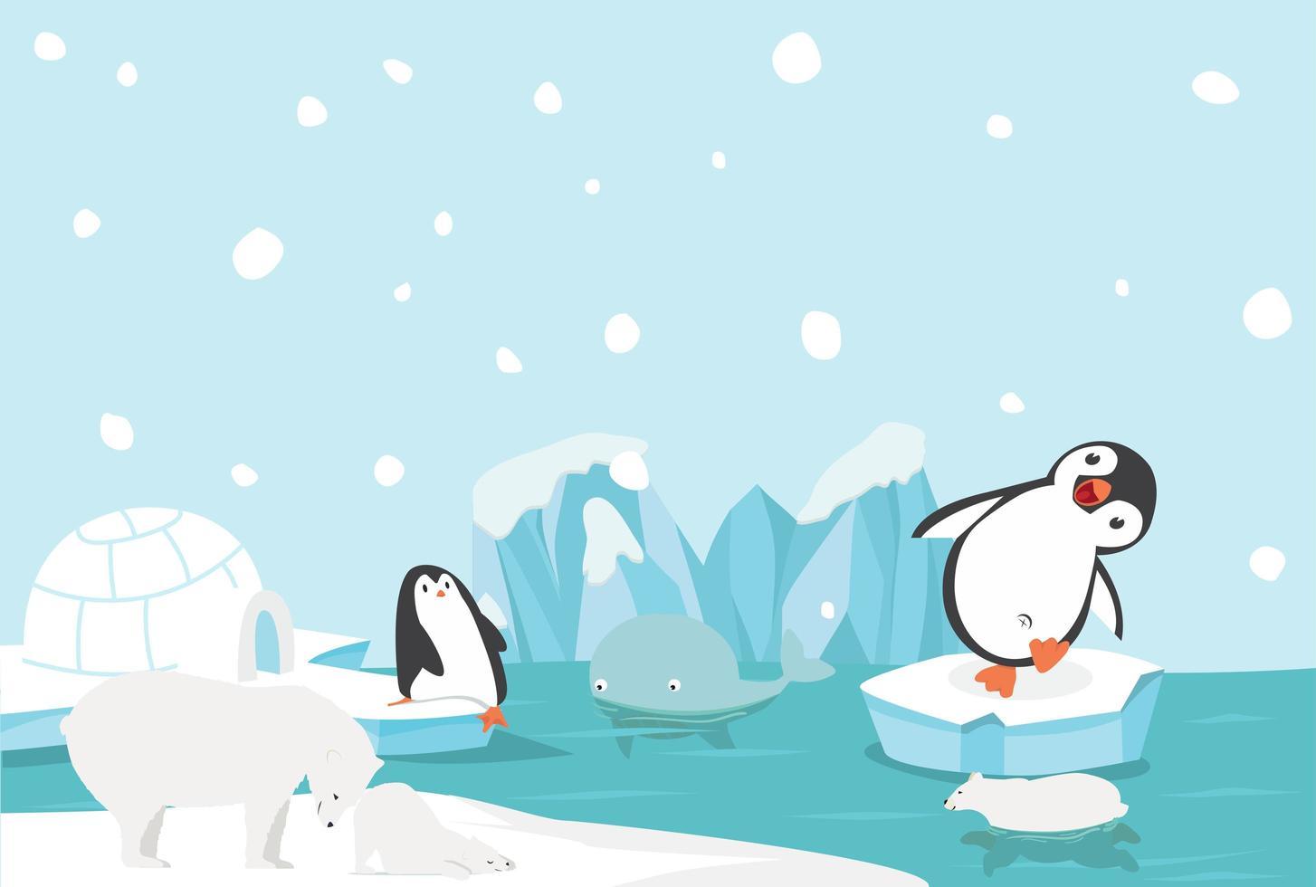 pingüinos y osos polares jugando en el paisaje ártico vector