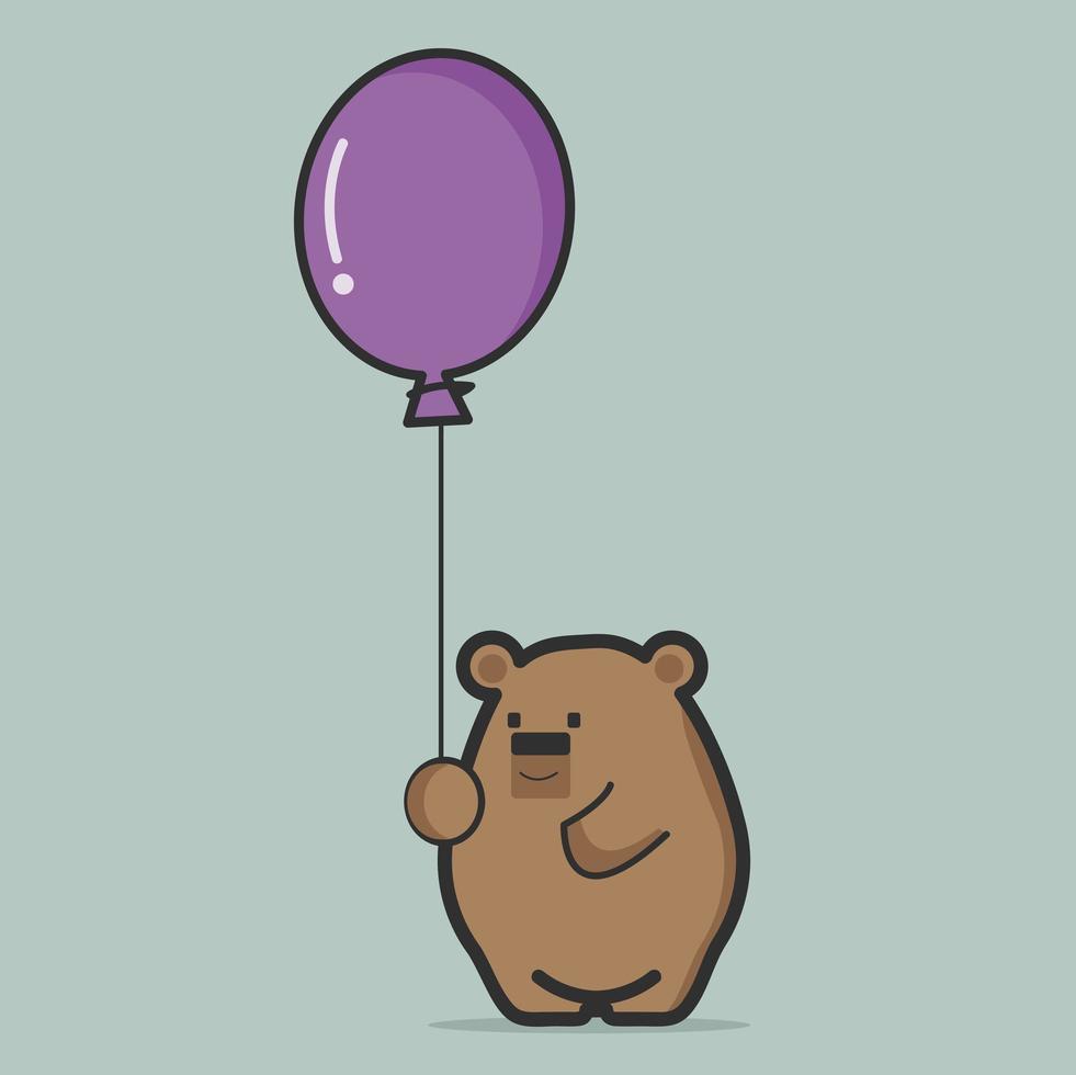 lindo oso gordo sosteniendo un globo morado vector
