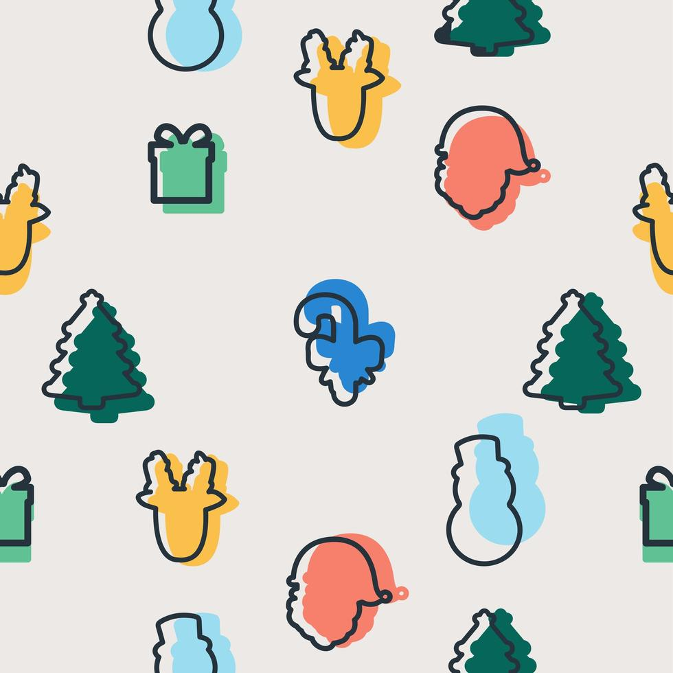 Seamless pattern of colorful Christmas elements vector