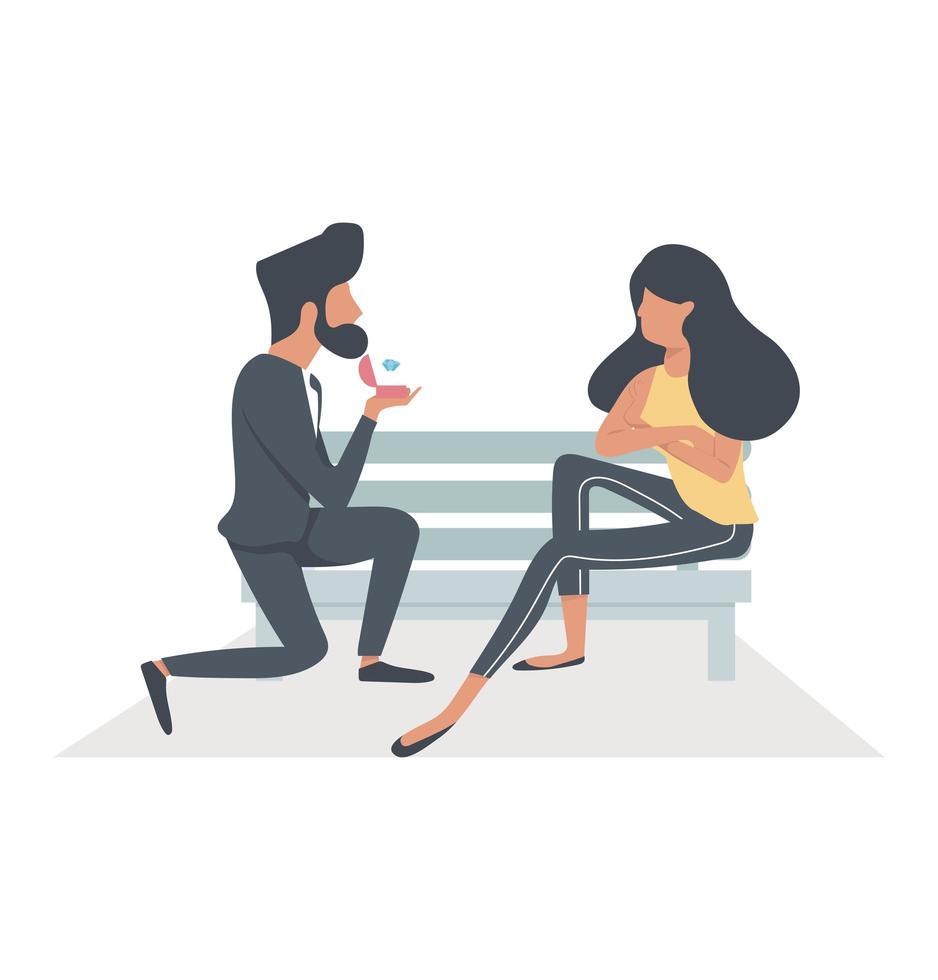 hombre guapo proponiendo matrimonio a una mujer sentada vector