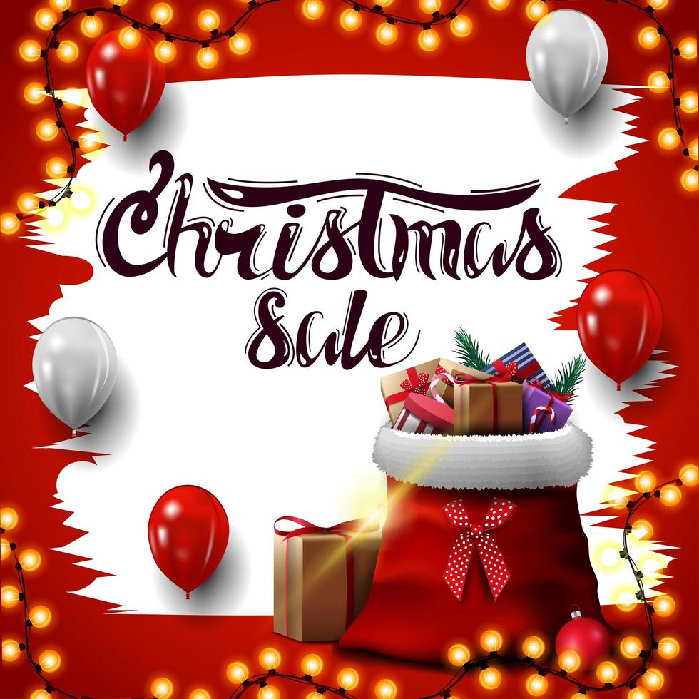 Christmas square white and red discount banner vector
