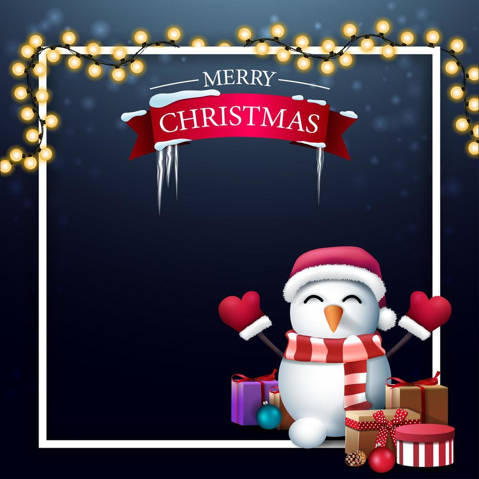 Christmas blue blank template with place for text vector