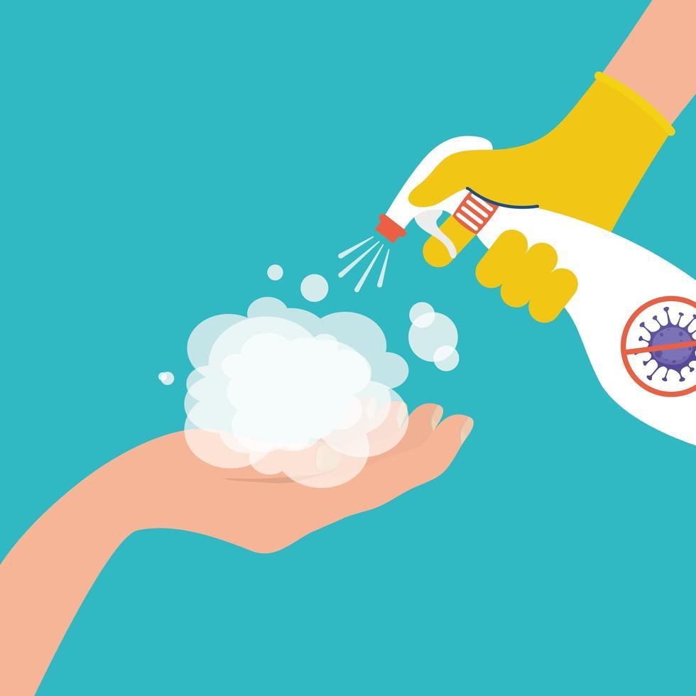 Prevención del coronavirus con desinfección de manos con atomizador. vector