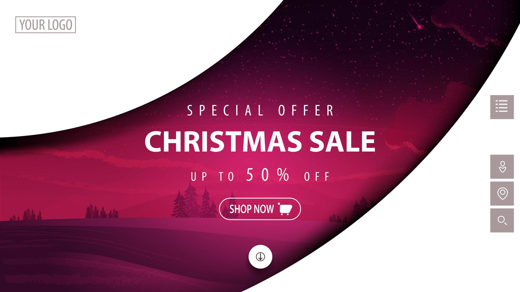 Christmas modern discount banner for website vector