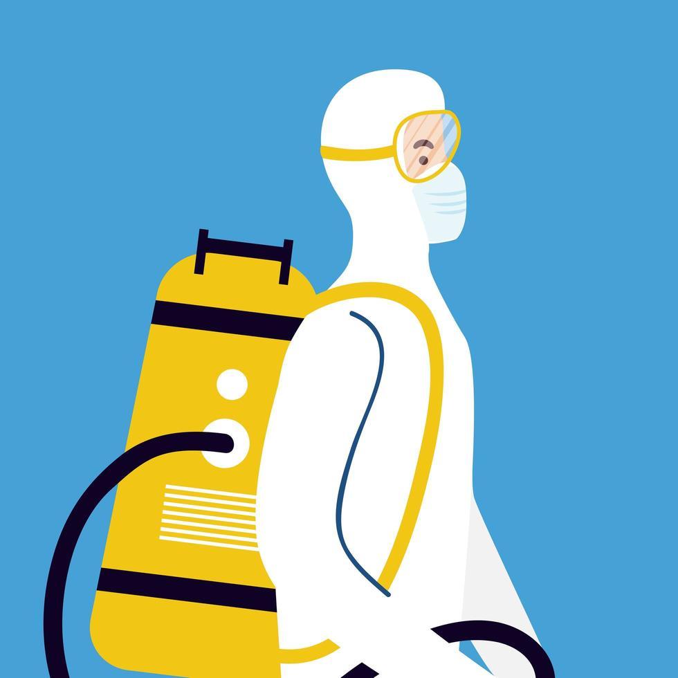 Coronavirus prevention with person on hazmat suit vector