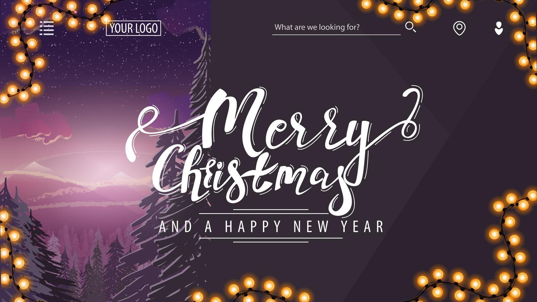 Purple modern Christmas postcard with winter landscape vector