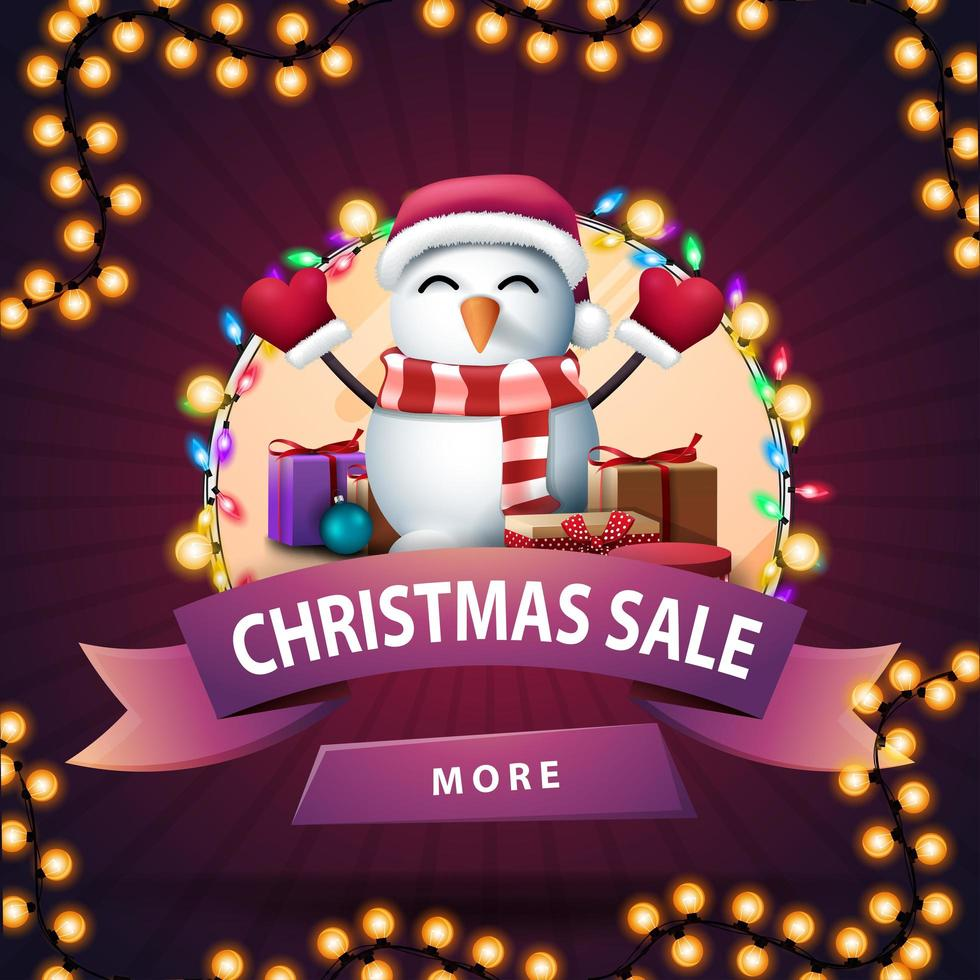Christmas round discount banner with pink ribbon vector