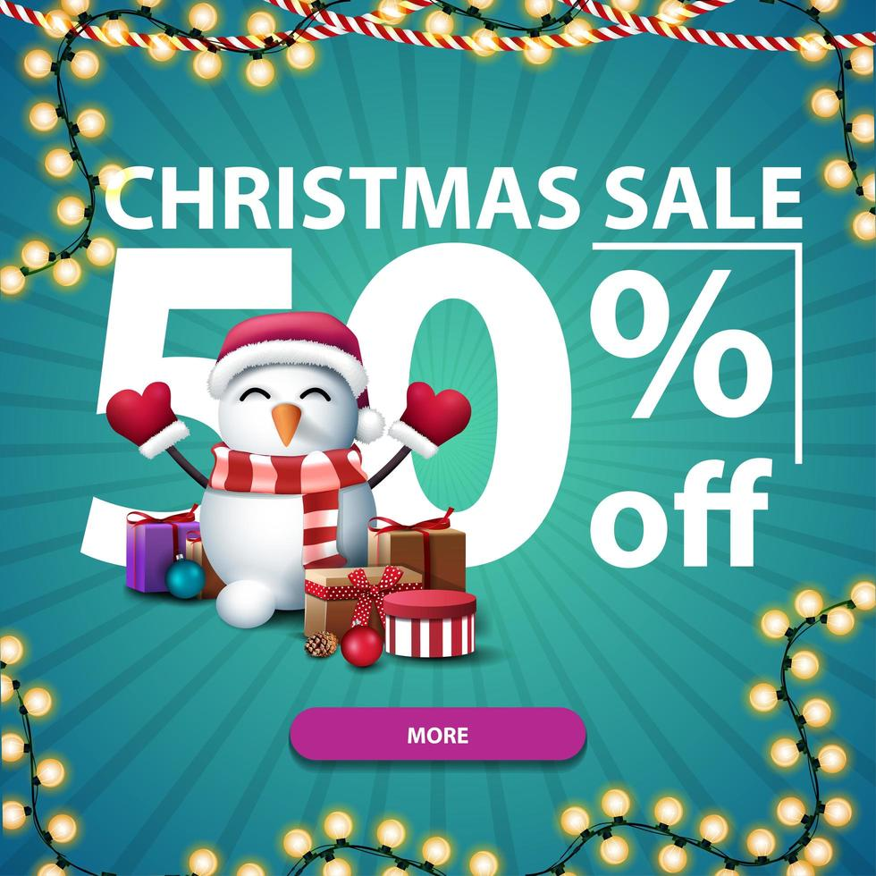 Christmas discount banner with large numbers vector