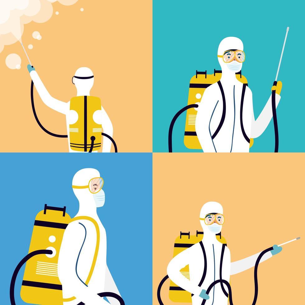Coronavirus prevention with people on hazmat suit disinfecting vector