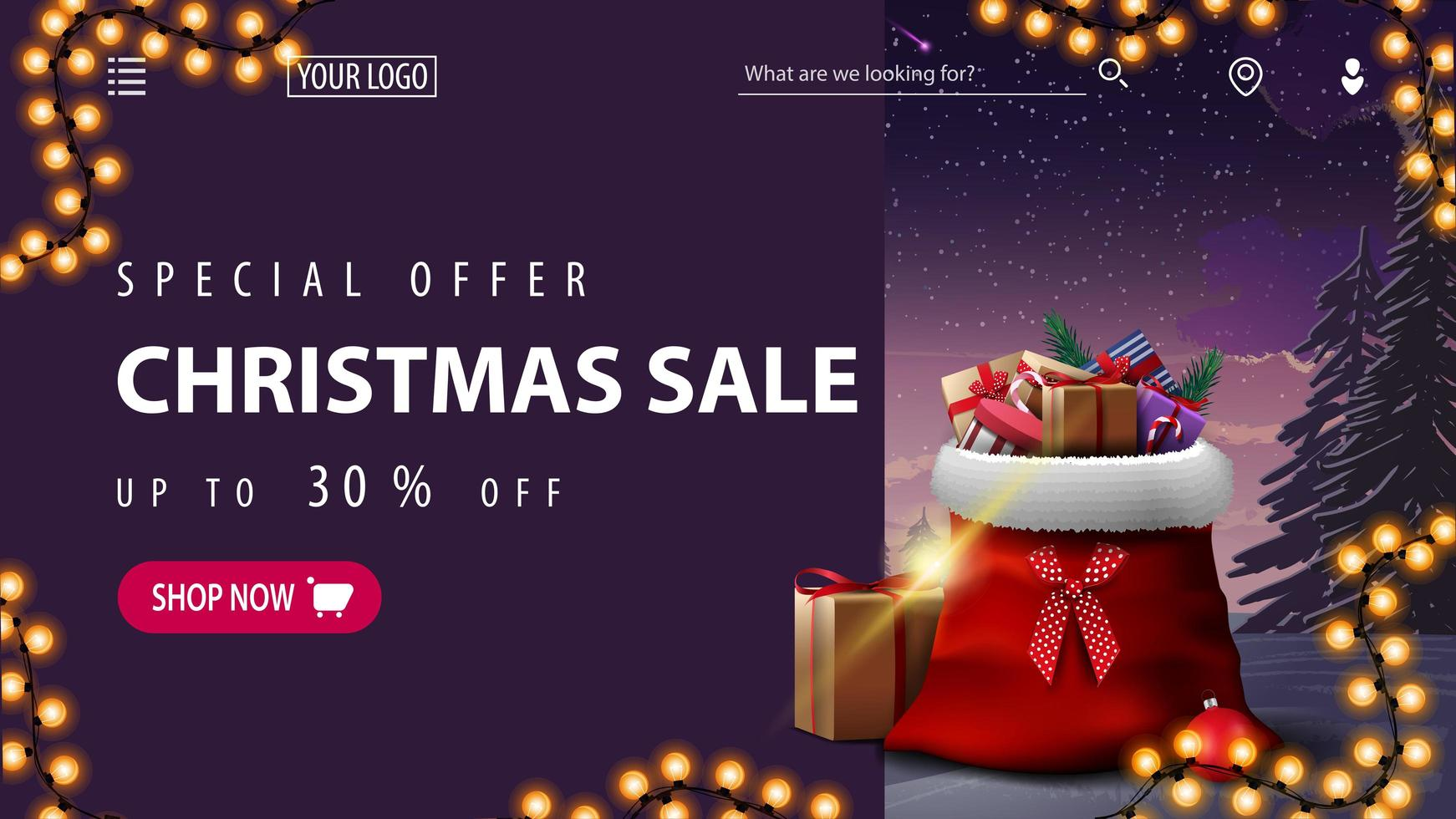Christmas discount banner for website with winter landscape vector