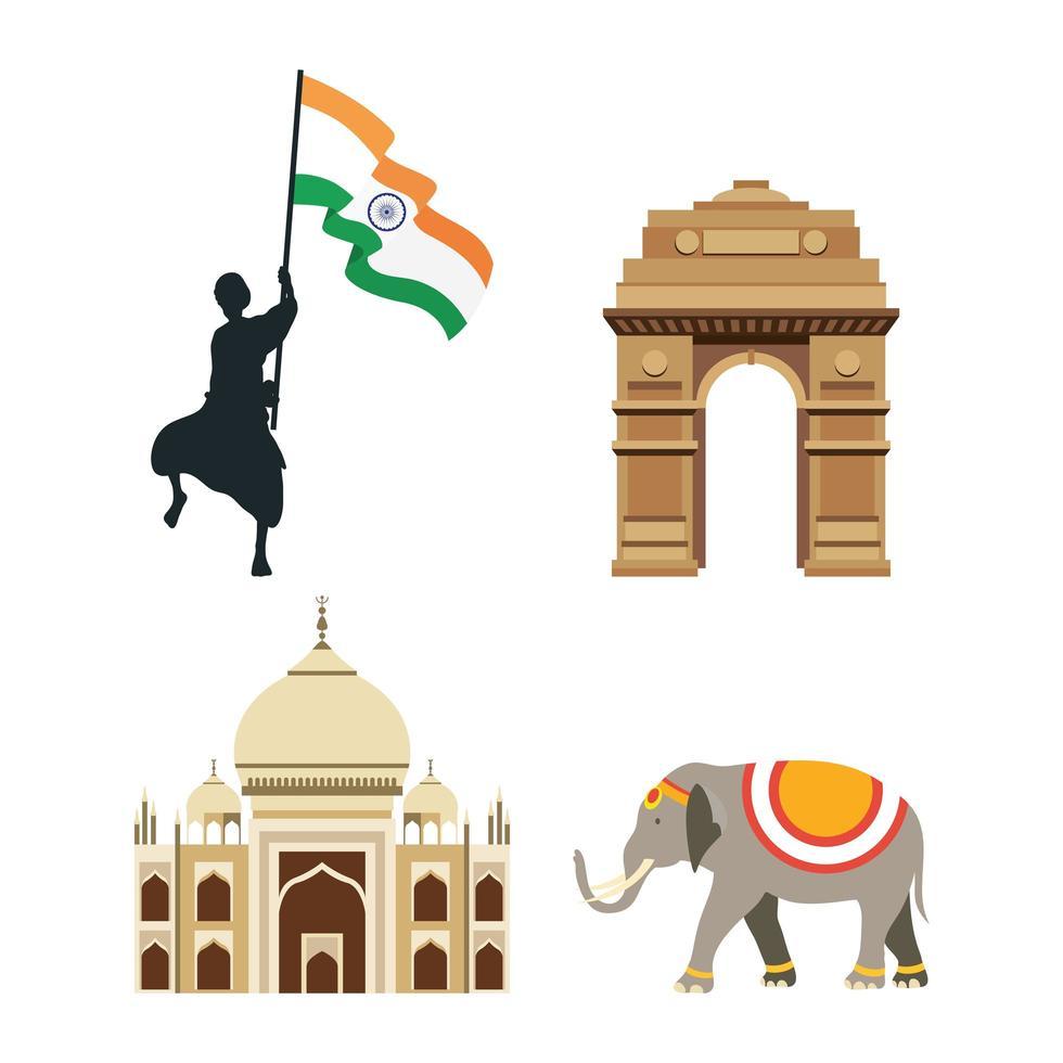 India Independence Day celebration icon set vector